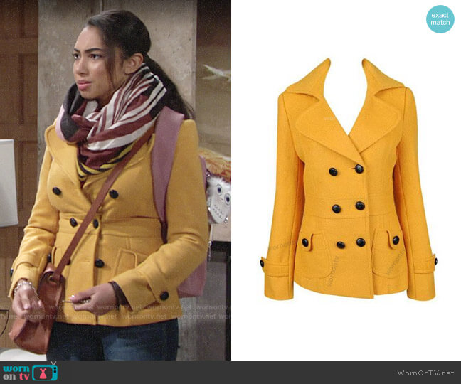 Forever 21 Yellow Peacoat worn by Shauna (Camryn Hamm) on The Young & the Restless