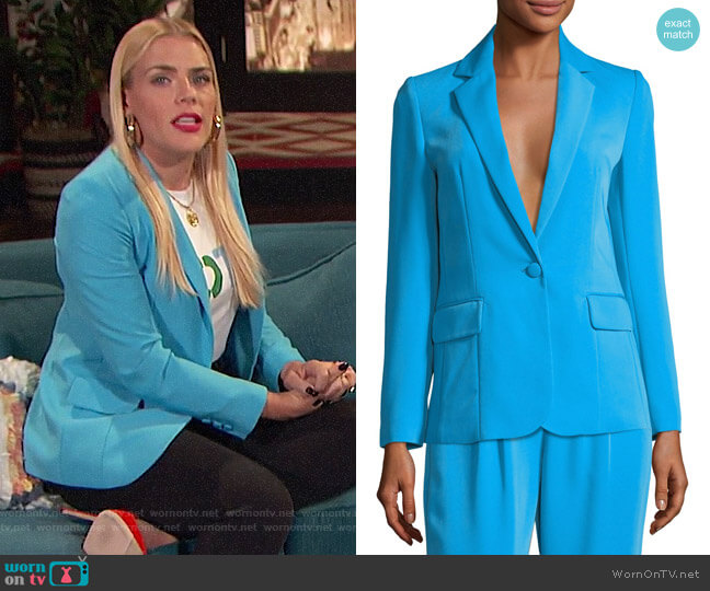 Frame True Notched-Collar One-Button Blazer worn by Busy Philipps on Busy Tonight