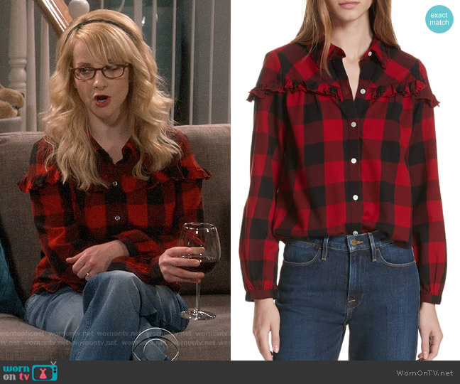 Bernadette's checked shirt on The Big Bang Theory
