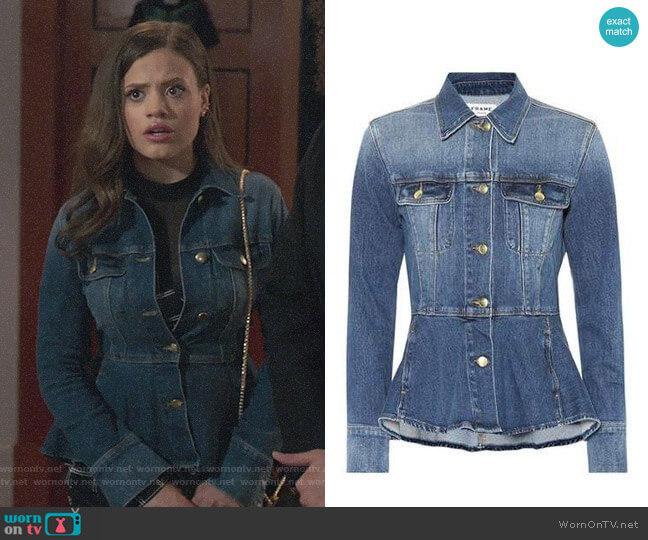 Frame Peplum Denim Jacket worn by Maggie Vera (Sarah Jeffery) on Charmed