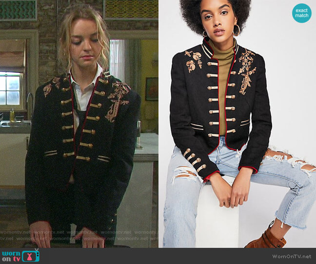 Lauren Band Jacket by Free People worn by Claire Brady (Olivia Rose Keegan) on Days of our Lives