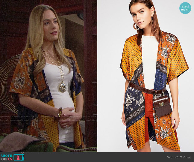 Free People Mon Cheri Silky Patchwork Kimono worn by Steffy Forrester (Jacqueline MacInnes Wood) on The Bold & the Beautiful