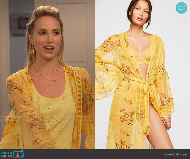 Free People Sunkissed Ruffle Kimono worn by Molly McCook on Last Man Standing