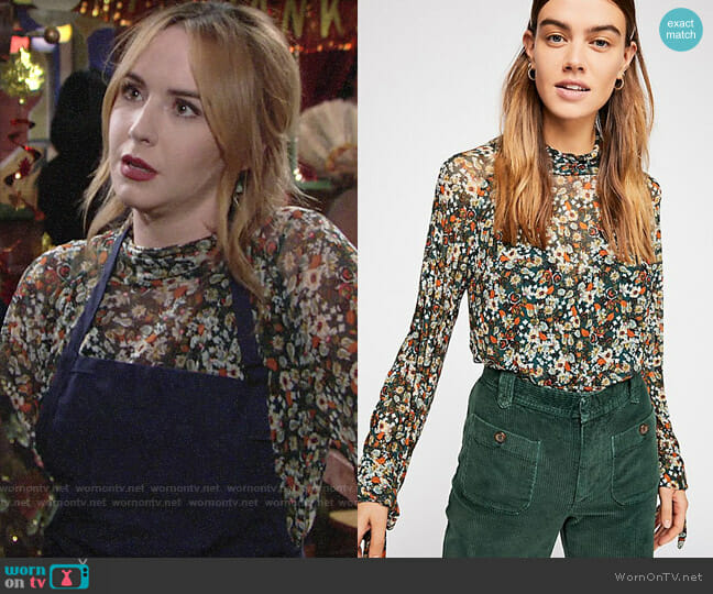 Free People All Dolled Up Blouse in Green Combo worn by Mariah Copeland (Camryn Grimes) on The Young & the Restless