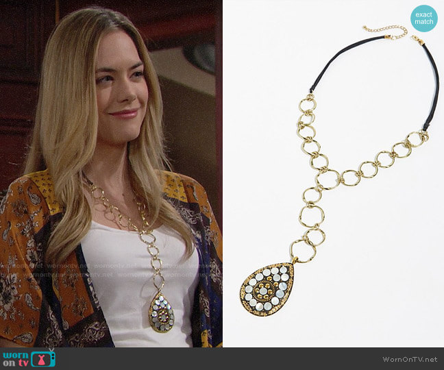 Free People Amberwood Pendant worn by Steffy Forrester (Jacqueline MacInnes Wood) on The Bold & the Beautiful