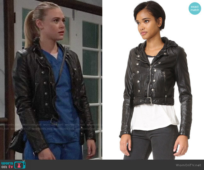 Free People Ashville Vegan Leather Jacket worn by Kiki Jerome (Hayley Erin) on General Hospital