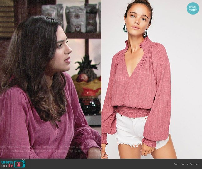 Free People Solid Smocked Top worn by Sasha Calle on The Young & the Restless