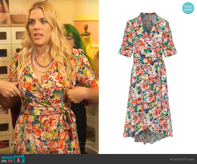 Ganni Floral-print silk-crepe wrap dress worn by Busy Philipps (Busy Philipps) on Busy Tonight
