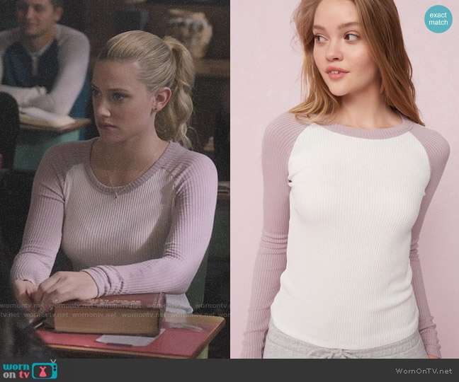 Garage Long Sleeve Ribbed Baseball Tee worn by Betty Cooper (Lili Reinhart) on Riverdale