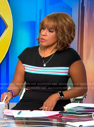 Gayle's black striped dress on CBS This Morning