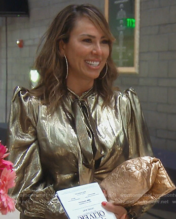 Kelly's gold metallic blouse on The Real Housewives of Orange County