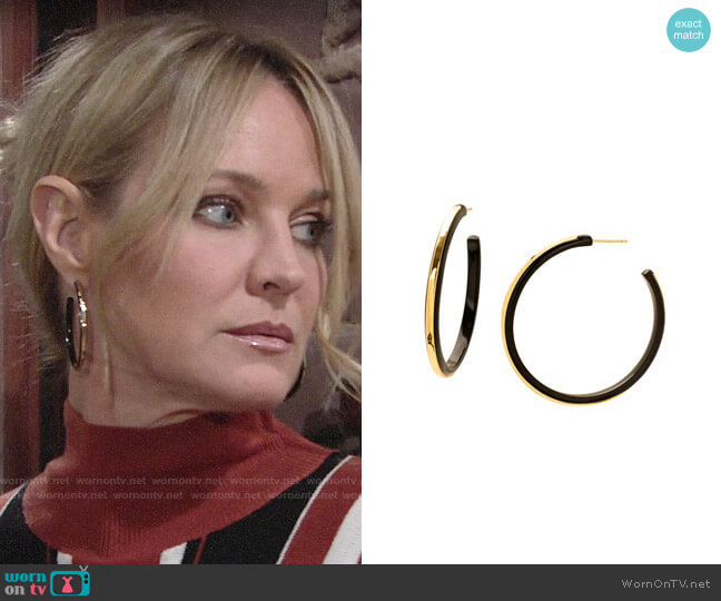 Gorjana Irina Hoop Earrings worn by Sharon Collins (Sharon Case) on The Young & the Restless