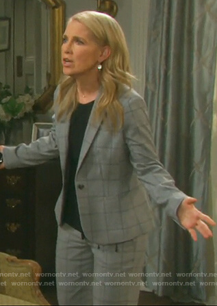 Jennifer's gray window pane blazer and pants on Days of Our Lives