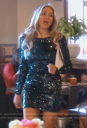 Gina's green sequined mini dress on The Real Housewives of Orange County