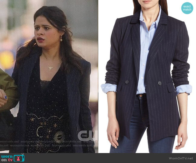 Halogen Navy Chalk Stripe Double Breasted Blazer worn by Mel Vera (Melonie Diaz) on Charmed