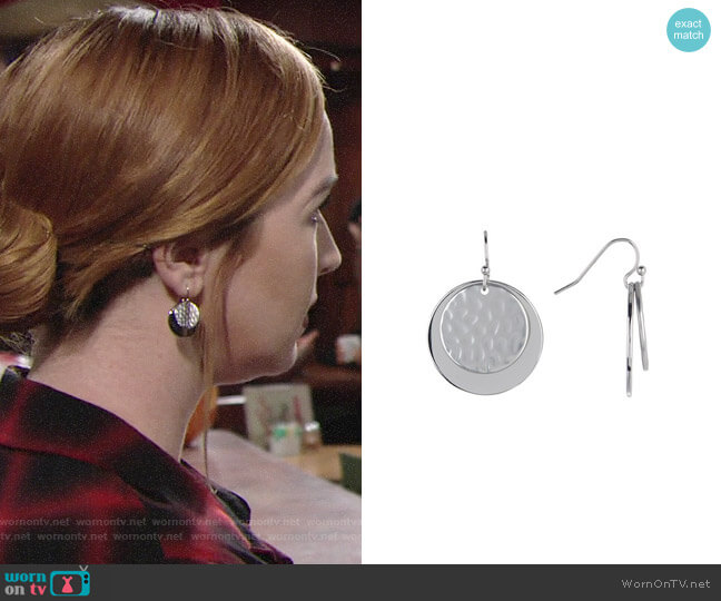 Halogen Hammered Double Disc Drop Earrings worn by Camryn Grimes on The Young & the Restless
