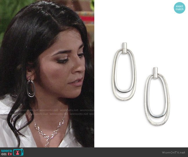 Halogen Oval Drop Earrings worn by Noemi Gonzalez on The Young & the Restless