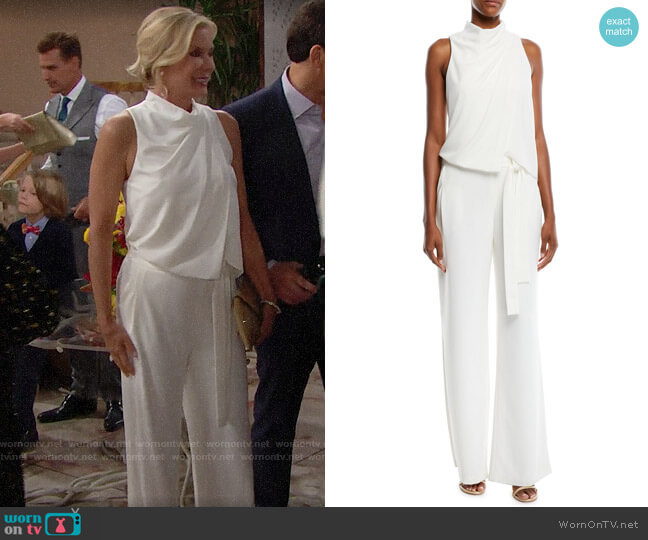 Halston Heritage Sleeveless Draped Jumpsuit worn by Brooke Logan (Katherine Kelly Lang) on The Bold & the Beautiful