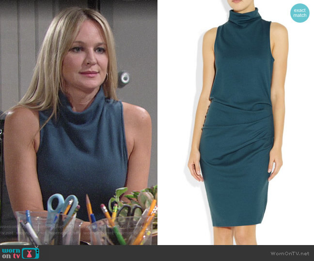 Halston Heritage Brushed Wool-Jersey Dress  worn by Sharon Collins (Sharon Case) on The Young & the Restless