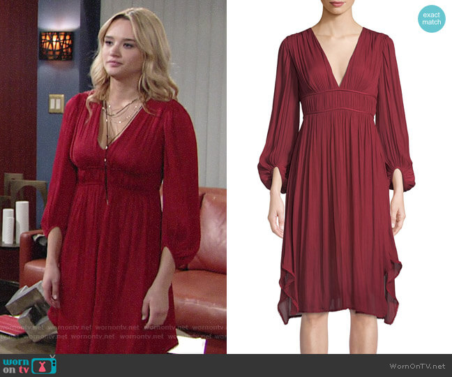Halston Heritage Flowy Bishop Sleeve Ruched Dress worn by Summer Newman (Hunter King) on The Young & the Restless