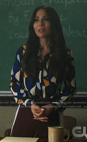 Hermione's geometric print blouse on Riverdale