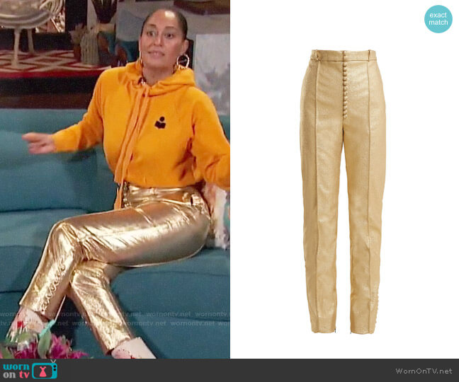 Hillier Bartley Glam Metallic Faux-Leather Trousers worn by Tracee Ellis Ross on Busy Tonight