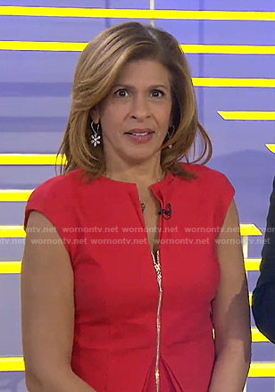 Hoda's red zip front peplum dress on Today