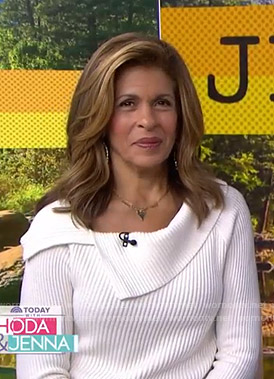 Hoda's white ribbed sweater on Today