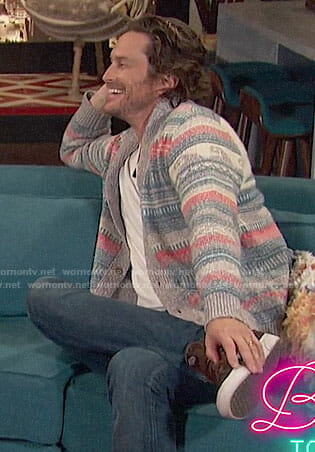 Oliver Hudson's sun and wave print cardigan on Busy Tonight