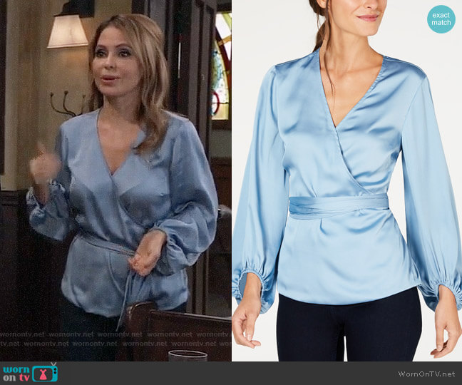 INC International Concepts Belted Wrap Top in Blue Seashore worn by Olivia Falconeri (Lisa Lo Cicero) on General Hospital