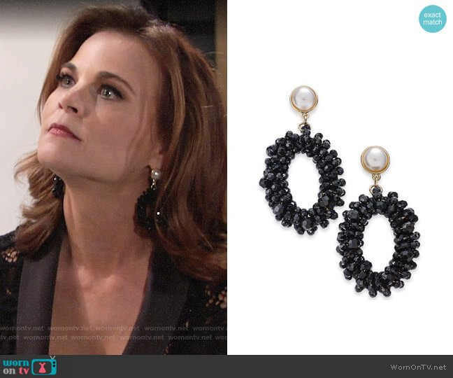 INC International Concepts Imitation Pearl Drop Hoop Earrings worn by Phyllis Newman (Gina Tognoni) on The Young & the Restless
