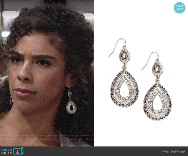 INC International Concepts Silver-Tone Pave Double Drop Earrings worn by Kerry Johnson (Alice Hunter) on The Young & the Restless
