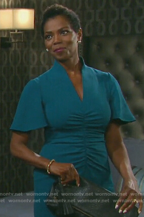 Valerie's green v-neck ruched dress on Days of our Lives