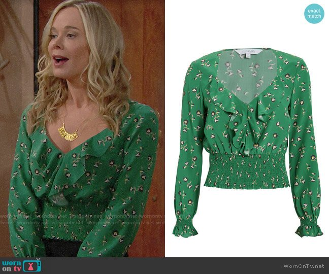 Intermix Freda Top worn by Jennifer Gareis on The Bold & the Beautiful