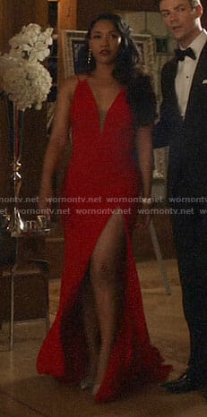 Iris's red plunge neck gown on The Flash