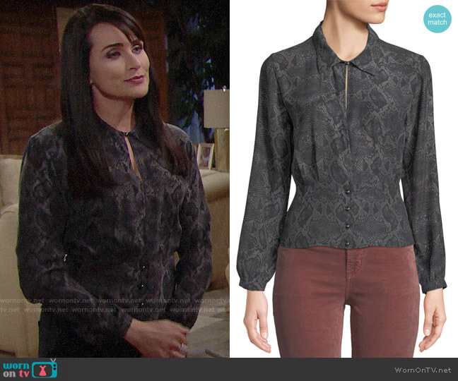 J Brand Lindsey Snake Print Blouse worn by Rena Sofer on The Bold & the Beautiful