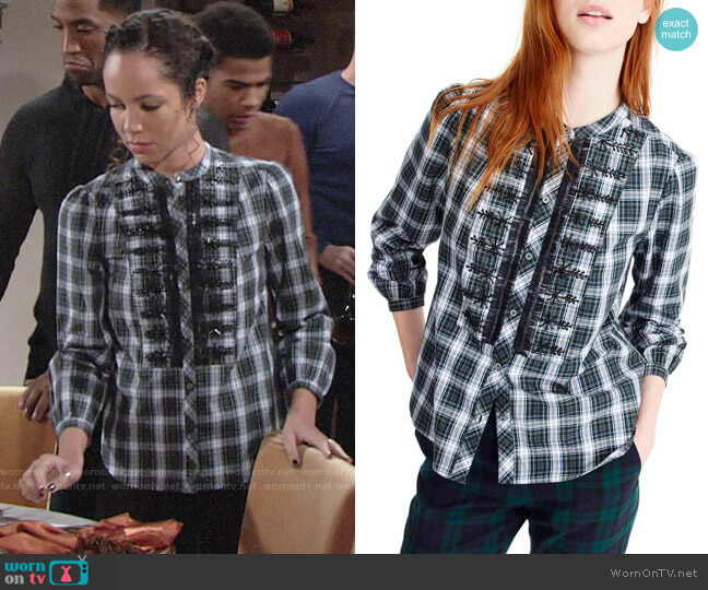 J. Crew Embellished Button-Up Tartan Shirt worn by Mattie Ashby (Lexie Stevenson) on The Young & the Restless