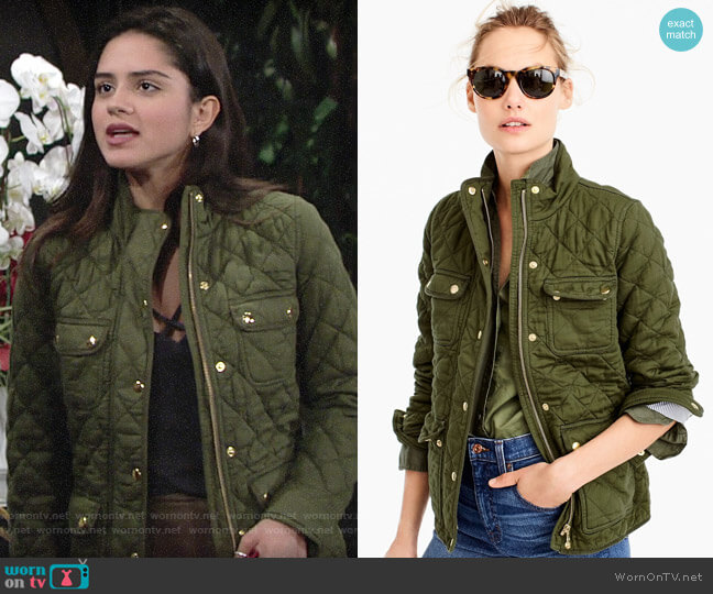 J. Crew Quilted downtown field jacket worn by Sasha Calle on The Young & the Restless