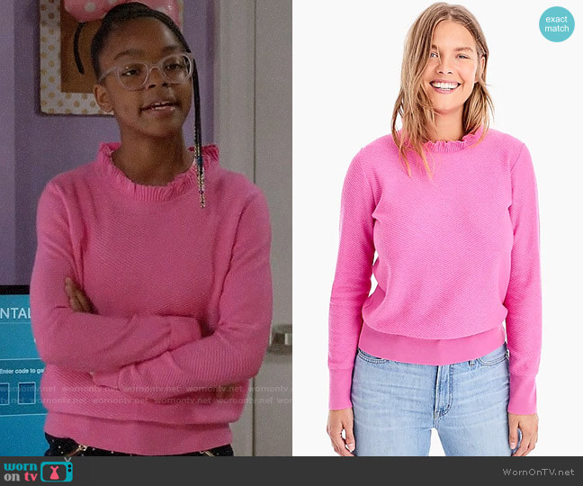 J. Crew Ruffle-neck Pullover Sweater worn by Diane Johnson (Marsai Martin) on Blackish