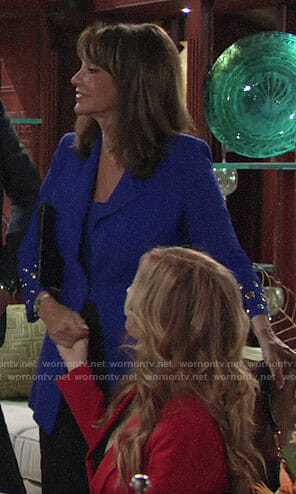 Jill's blue grommet detail jacket on The Young and the Restless