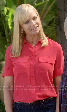 Jill's red short sleeve button down shirt on Mom