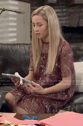 Josslyn's burgundy floral shift dress on General Hospital