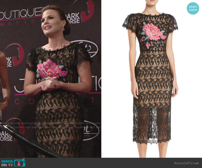 Jovani Floral-Insert Lace Dress w/ Short Sleeves worn by Phyllis Newman (Gina Tognoni) on The Young & the Restless