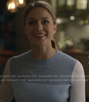 Kara's blue colorblock sweater on Supergirl