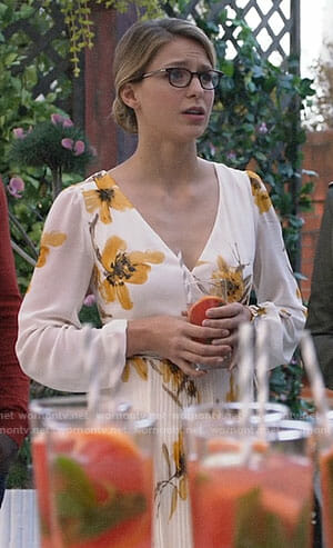 Kara's floral wrap dress on Supergirl