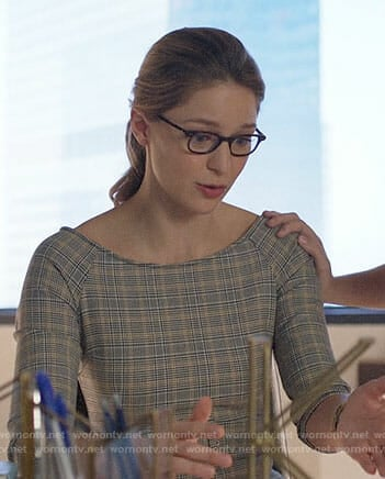 Kara's plaid sheath dress on Supergirl
