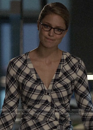 Kara's plaid button front dress on Supergirl