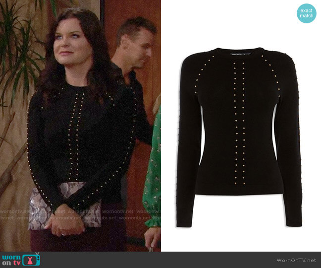 Karen Millen Studded Sweater worn by Katie Logan (Heather Tom) on The Bold & the Beautiful