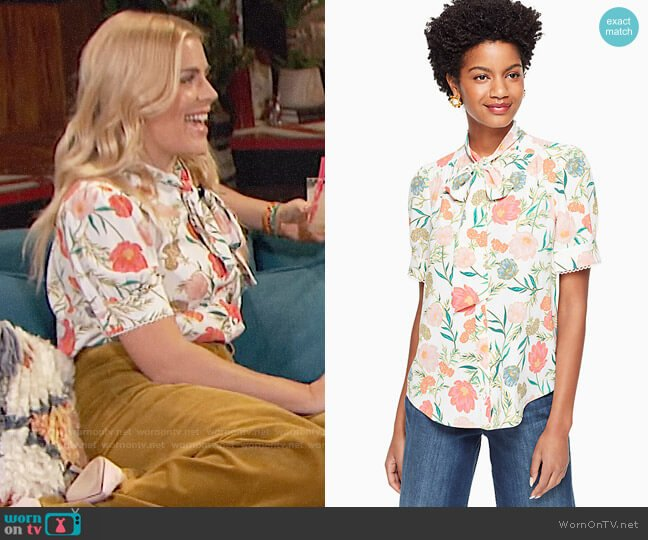 Kate Spade Blossom Tie Neck Top worn by Busy Philipps  on Busy Tonight