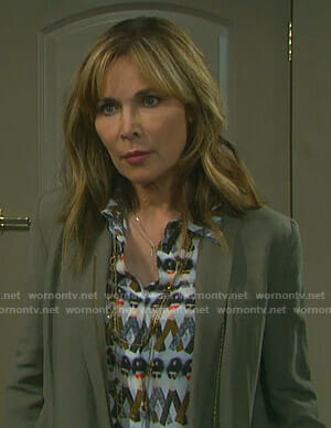 Kate's white face print blouse on Days of our Lives